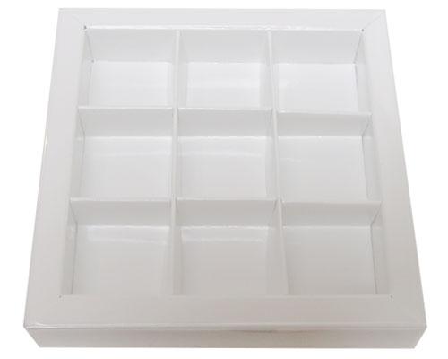Windowbox 100x100x19mm 9 division chromolux white