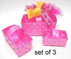Deko Basket Plastic set of 3 Pink/ price per set