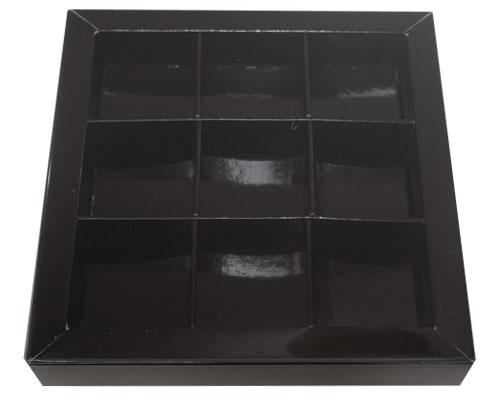 Windowbox 100x100x19mm 9 division noir laqué