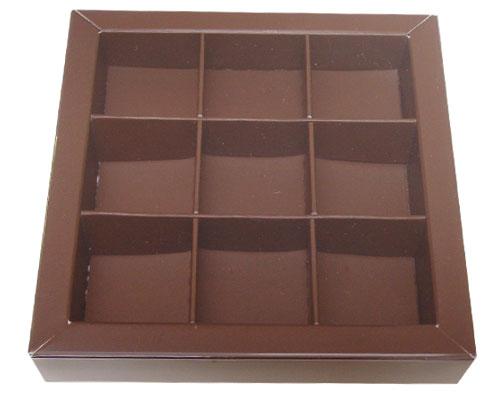 Windowbox 100x100x19mm 9 division brown