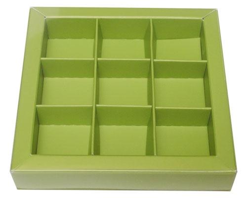 Windowbox 100x100x19mm 9 division kiwi green