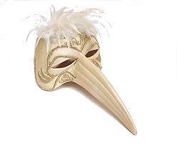 mask venetian ceramic for hanging, deco, ivorygold