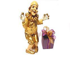 clown ball standing, gold